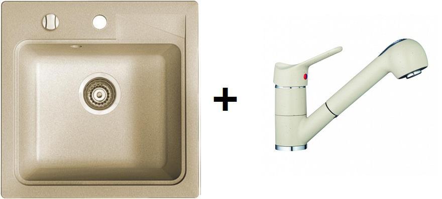 Marmorin Isao 1 medence szögletes gránitmosogató +  zuhany fejes csaptelep (M)