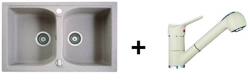 Rontti by Marmorin LUKKA  kétmedencés gránit mosogató+ zuhanyfejes csaptelep (M)