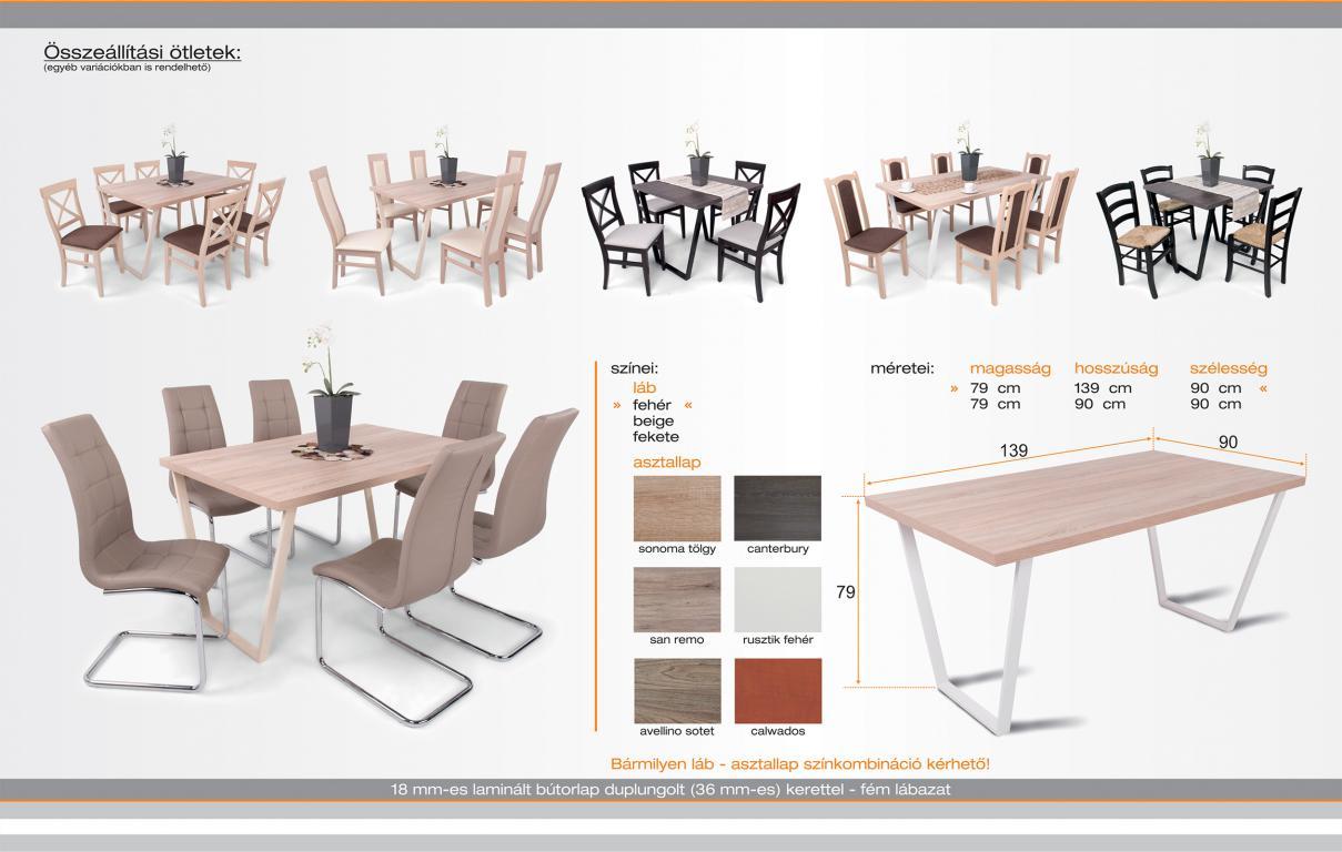 étkezőgarnitúra Sophia székkel - 6 személyes