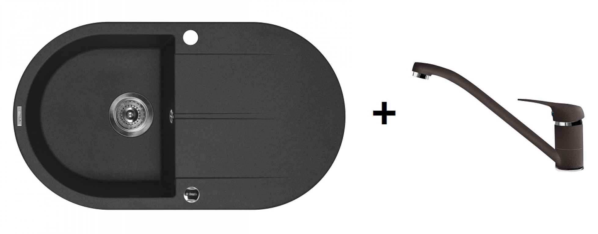 Deante Piva ovális 1 medence + csepegtetős gránitmosogató + normál csaptelep (CS)