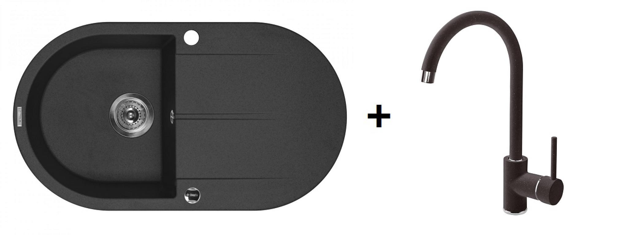 Deante Piva ovális 1 medence + csepegtetős gránitmosogató + magasított csaptelep (CS)