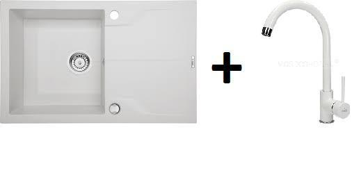 Deante Andante 1 medence + csepegtetős gránitmosogató +  magasított csaptelep